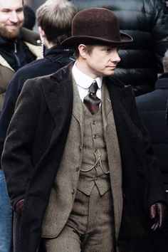 Martin Freeman gets into character as he films scenes for Sherlock