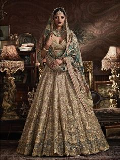 It's time to ditch the age-old traditional red lehenga and go for lehenga colours that express your individuality! Asian Bridal Dresses, Desi Wedding Dresses, Indian Bridal Outfits, Indian Designer Outfits, Indian Dresses, Indian Bridal Lehenga, Pakistani Bridal Dresses, Nikkah Dress, Mehndi