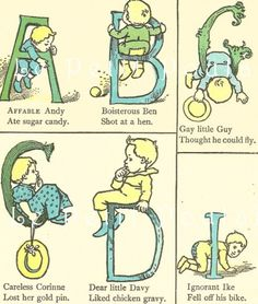 Antique 1927 Carolyn Wells and Edward Lear Nursery Lithographs Featuring Amusing Alphabets and Nonsense ABCs   PetitPoulailler - Antiques on ArtFire