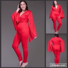COMING SOON CURVY GIRLS ONLY Red Hot Angel Sleeve V-neck Catsuit with Wide Waist Band. PRICE IS FIRM...ALL RETURN POSHERS RECEIVE A 15% DISCOUNT OFF A SINGLE ITEM...DISCOUNT CAN NOT TO BE APPLIED TO BUNDLE DISCOUNT. Pants Jumpsuits & Rompers