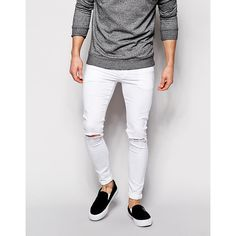 ASOS Extreme Super Skinny Jeans With Knee Rips ($17) ❤ liked on Polyvore featuring men's fashion, men's clothing, men's jeans, white, mens white distressed jeans, mens distressed jeans, mens skinny jeans, mens ripped jeans and mens super skinny jeans