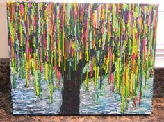 Melted crayon art weeping willow tree