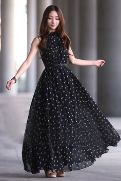 Elegant Black Tank Sleeveless Chiffon Dress
