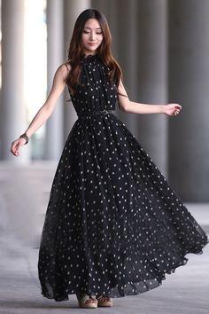 Elegant Black Tank Sleeveless Chiffon Dress
