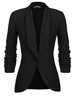 Women Shawl Lapel Ruched Sleeve No Tight One Button Slim Office Fit Casual Blazer B S Source by Casual Blazer Women, Oufits Casual, Blazer Jackets For Women, Work Jackets, Blazers For Women, Ladies Blazers, Dress For Success, Only Blazer, Business Attire