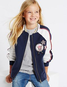 Pure Cotton Bomber Jacket (3-14 Years)   M&S