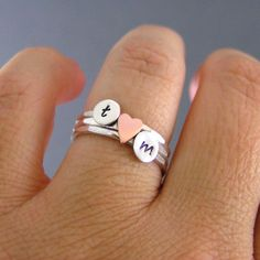 Custom Initial Sweetheart Stack Rings Sterling door LittleGreenRoom, $45,00