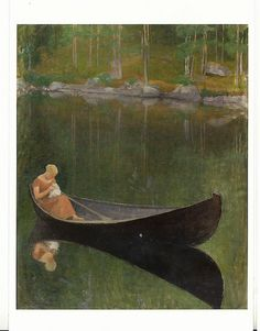 Pekka Halonen,1924: Woman in a boat.