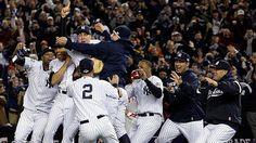 The 2009 New York Yankees celebrate the organization's 27th World Series championship.