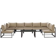 Modway EEI1730BRNMOCSET Fortuna 8 Piece Outdoor Patio Sectional Sofa Set in Brown Mocha