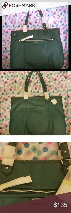 "Coach leather Daisy Emma tote Stunning and stylish Coach Daisy Leather Emma Tote. Carry all your essentials in this spacious handbag for any occasion. NWT has been hanging in my closet. Still has all protective papers attached.  Leather, Jade with silver accents Inside zip, cell phone and multifunction pockets  Zip-top closure, fabric lining  Outside zip and open pockets  Handles with 8 3/4"" drop  15 3/4"" (L) x 12 1/4"" (H) x 4 3/4"" (W) Coach Bags Totes"