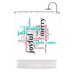 """Sylvia Cook """"Holiday Traditions"""" Christmas Typography Shower Curtain"""