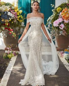 The #Juniper is for the #bold the #brave and the #beautiful. A sheer strapless lace mermaid dress with a floral embroidery made from ivory and silver sequins and a unique French lace underlay. #Florencebynight