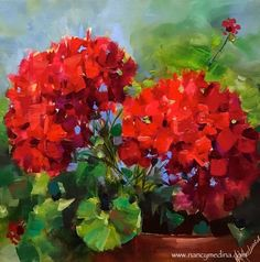 Online Classes Are Here - Living Color Red Geraniums Original art painting by Nancy Medina - DailyPainters.com