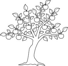 coloring pages apple pattern - Apple Tree Coloring Page