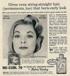 Nu-Curl 70 ad, 1958. #vintage #hair #1950s