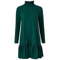 Traffic People Green Smock Dress ($37) ❤ liked on Polyvore featuring dresses, green pleated dress, zip dress, green day dress, short pleated dress and waist dress