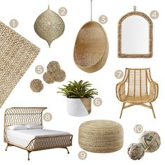 Design Direction: Rattan and Rope Roundup Bali Bedroom, Diy Bedroom Decor, Funky Furniture, Home Decor Furniture, Hygge, Bali Decor, Beige Living Rooms, Amazon Home Decor, Master Bedroom Makeover