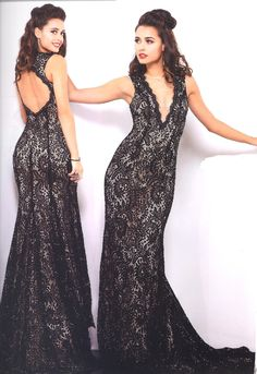 Prom Dresses Evening Dresses by SHAIL K.<BR>3963<BR>Full length formal lace dress with V-neck plunging neckline and embellished train.