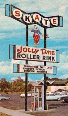 Skate Jolly Time Roller Rink vintage sign