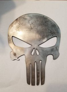 CNC plasma cut from heavy duty steel. Multiple sizes available beyond the ones listed email us for a quote. Not finding the metal item you are looking for? Shoot us an email and we will do the best we can to get you the perfect. Cnc Plasma, Plasma Cutting, Metal Art Projects, Metal Crafts, Welding Art, Welding Hood, Spoon Art, Punisher Skull, Custom Metal Signs