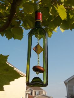 Green Wine Bottle Wind Chime