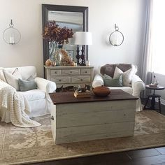 This space feels complete with a bigger, thicker rug. I'm allergic to trends so I opted for a traditional style in neutral colors. Happy Saturday everyone! Wall color is Homestead Resort Parlor Taupe...tap pic for some sources.