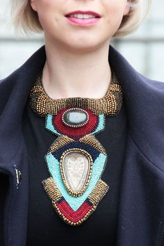 Collar grande / tribales joyería grueso bordado por RasaVilJewelry