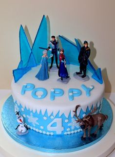 Another Frozen themed cake with all the characters and Blue Ice.  www.kaixe.co.uk www.facebook.com/Kaixe