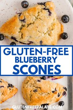 These gluten free blueberry scones have the perfect crumbly edges, brown sugary tops, and tender centers. Dairy-Free option included. Gluten Free Quick Bread, Gluten Free Coffee Cake, Gluten Free Scones, Gluten Free Donuts, Gluten Free Blueberry, Gluten Free Recipes For Breakfast, Gluten Free Dinner, Gluten Free Breakfasts, Gluten Free Desserts
