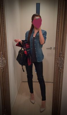 Jeans shirt + black leather pants - http://ameblo.jp/nyprtkifml
