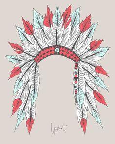 Indian headdress print or painted on mirror? Native American Headdress, Native American Art, Tattoo Gesicht, Illustrations, Illustration Art, Indian Headress, Indian Headdress Tattoo, Timberwolf, Feather Art
