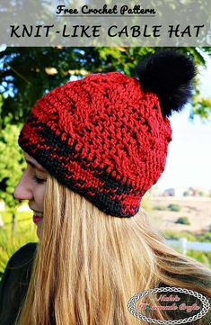 Knit-like Cable Hat Free Crochet Pattern by Nicki's Homemade Crafts #cable #waistcoat #stitch #red #black #free #crochet #pattern #knit #like Crochet Beanie, Crochet Yarn, Free Crochet, Knitted Hats, Crochet Waistcoat, Crochet Cable Stitch, Crochet Snowflakes, Faux Fur Pom Pom, Crochet Crafts