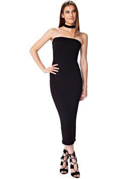 34e08dfa915b The mystylemode black double lined strapless midi dress