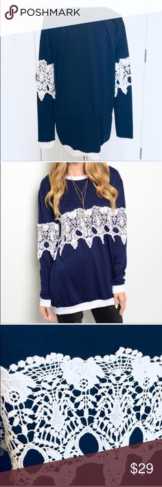 451dc22c99  poshmark  fashion  shopping  style  Vince  Sweaters. See more. Navy Blue  White Lace Long Sleeve Sweatshirt Sz S Last 2! Sz Small. Super