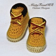 Crochet Timberland Inspired Baby Work Boots - Available in any color and size - www.facebook.com/MistyFrostHR **** Pattern will be available for purchase soon, please contact me on my Facebook page to find out when ****