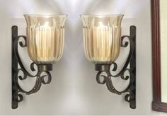 ME2169 - Santa Fe Bronze Iron with Brass Medallion Wall Sconce, Set of 2 - Candle Holders