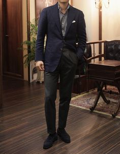 SCABAL Double-Face Blue Blazer TAILOR Navy Check Shirt CANONICO Gray Wool Trousers ZONKEY BOOT Navy Suede Loafer