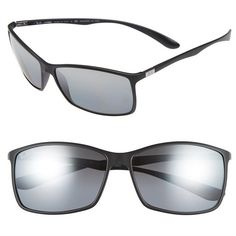 Men's Ray-Ban 'Tech Liteforce' 62Mm Polarized Sunglasses ($215) ❤ liked on Polyvore featuring men's fashion, men's accessories, men's eyewear, men's sunglasses, men's rectangular sunglasses, ray ban mens sunglasses, men's mirrored sunglasses, mens eyewear and mens rectangle sunglasses