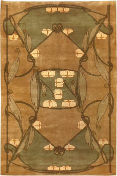 GlenMona by Archibald Knox ~ featured in American Bungalow #90 (summer 2016), this Arts and Crafts movement rug blends Art Nouveau and Celtic influences. This is a striking piece which looks fabulous in a number of settings. Like all Guildcraft carpets, it is handknotted and certified child-labor-free by GoodWeave.