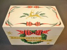 Vintage Stylecraft Metal Christmas Card List Box Holiday Seasonal Collectible