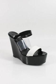DAVIS BY RUTHIE DAVIS Black White Patent Leather Plastic Wedges Sz 36.5 6.5 $59
