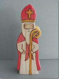 Sinterklaas beeldje van hout (Amerika)