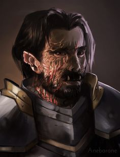 Digital painting portrait of a RPG character. An injured Dungeons & Dragons half-orc - Anebarone