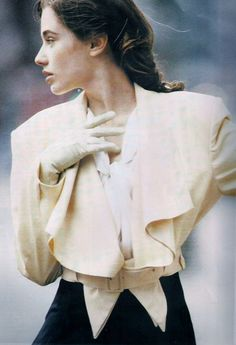 """Kelly in """"A Great New Angle on Tailoring"""" for ELLE UK, May 1989, photographed by Neil Kirk"""