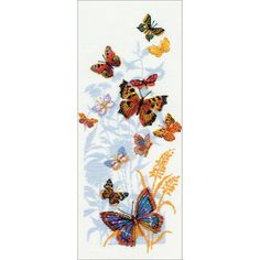 """Russian Butterflies Counted Cross Stitch Kit - 8.75"""" x 19.75"""" 14 Count"""