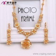 2-piece set 18 K Charming Glass Gold Flower Jewelry Set #Xuping