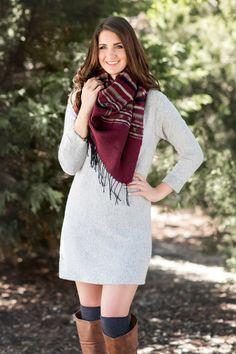 Fall Fashion, Fall Dress, Sweater Dress, OOTD- Fireside Sweater Dress- Heather Grey by Jane Divine Boutique www.janedivine.com