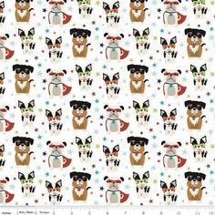 Boston Terrier fabric, Dog fabric, Super Dog Novelty White Fabric / Novelty of the Month / Super Dog Fabric by the yard Riley Blake Picnic Tablecloth, Cork Fabric, Summer Prints, Riley Blake, White Fabrics, Nightmare Before Christmas, Own Home, Boston Terrier, First Love
