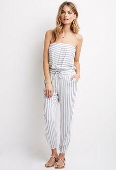 Striped Strapless Jumpsuit | LOVE21 - 2000055613